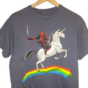 4/25Deadpool Riding Unicorn Over A Rainbow Shirt M